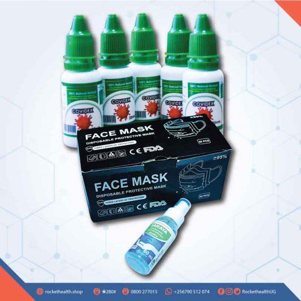 Covidex-5pcs,-50pcs-Black-Surgical-Masks,-Saraya-60ml-Sanitizer-Humper